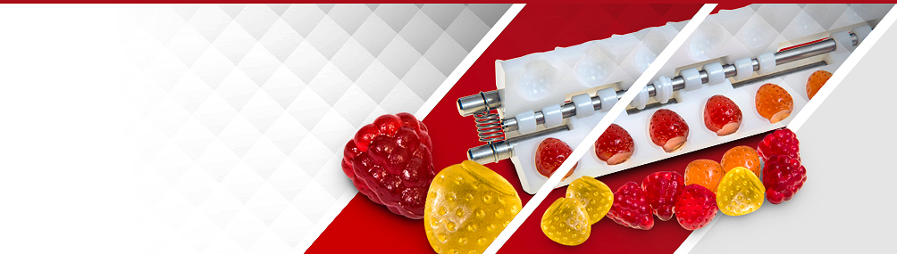 <b>Innovative 3D Mould System</b><p>New, exclusive technology for high-value, high-margin, fully 3D starchless jelly depositing.